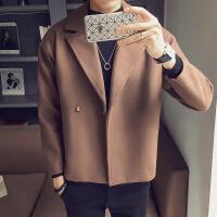 №【2019新款】冬天小个子穿的毛呢大衣160短款青年S码小版韩版修身风衣外套加厚潮男矮个子