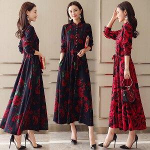 风轩衣度 中长款长袖H型连衣裙高腰套头时尚纯色潮流气质2018年春季新款 8802-1