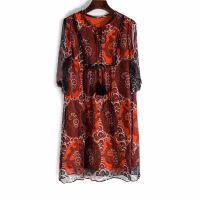 欧洲站重磅真丝连衣裙品牌大码女装V领宽松桑蚕丝印花A字裙16367 红色