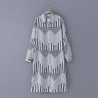 432 女装 春季新款几何图案翻领排扣中长款长袖衬衫雪纺衫