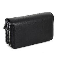 头层牛皮 钱包手机钥匙零钱包卡包 男士女士 三层三拉链 手拿包