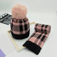 冬季�和�毛�帽子��巾手套三件套�b男女小孩中小�W生加�q保暖冬帽 格子�杉�套�b 皮粉 均�a