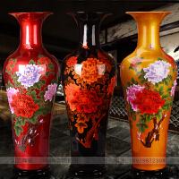 景德镇陶瓷花瓶水晶釉牡丹花开富贵客厅落地1米大号家居装饰摆件