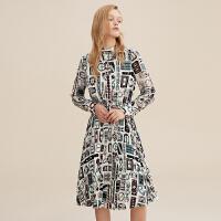 印花雪纺连衣裙收腰法式复古迪赛尼斯冬季新款时尚花色中长裙洋气