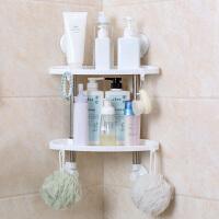 塑料双层置物架卫生间吸盘储物架壁挂架子厨房免打孔收纳架整理架