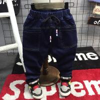冬装新款男2-7岁百搭松紧抽绳加厚加绒修身牛仔裤子小脚A-S8