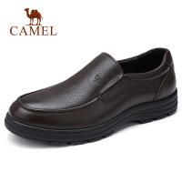 camel 骆驼男鞋 2018秋季新款男士商务休闲皮鞋牛皮休闲套脚皮鞋爸爸鞋
