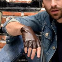新年优惠【NEW】真皮半指手套士小羊皮半指漏指短指写字驾驶健身羊皮手套
