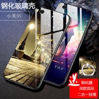 小米5s手机壳+钢化膜 小米5S保护套 小米5s mi5s 手机保护套 全包硅胶软边钢化玻璃彩绘保护壳FLBL