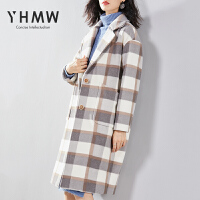 毛呢大衣女中长款2018冬流行格子加厚保暖呢子外套