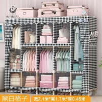 折叠衣橱衣柜收纳组装简易布衣柜布艺经济型实木双人简约现代柜子