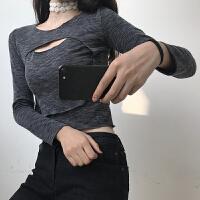 打底衫女装长袖秋冬百搭性感港风chic小心机镂空上衣前后开口T恤