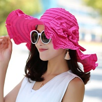 遮阳帽子女夏季休闲晒可折叠纯色蝴蝶结布帽紫外线大檐沙滩帽 M(56-58cm)