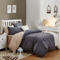 床上用品全棉被套床单四件套 纯色磨毛简约纯棉大学生宿舍三件套