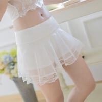 外穿打底裤薄款夏季网纱蕾丝边三分保险短裤女黑白色防安全裤 Q01(85-130斤内穿)