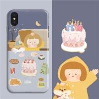 插画款紫色雨衣女孩与小柴生日iphone华为oppo小米手机壳