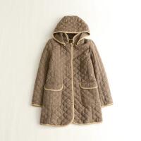 秋冬女中长款绗缝棉衣 可脱卸连帽日系居家袖外套6K