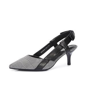 骆驼女鞋 2018夏季新款 休闲高跟鞋条纹格子后空尖头时尚浅口单鞋
