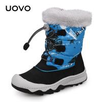 UOVO冬季新款儿童雪地靴防泼水女童棉鞋加厚男童靴子冬季潮靴中童防风防泼水长毛绒户外防滑雪地靴 路易斯