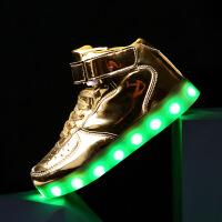 №【2019新款】儿童穿的发光鞋女童亮灯鞋充电LED闪光街舞防水运动鞋男童小白鞋