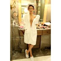 秋冬季 白色花边珊瑚绒性感女士睡袍法兰绒睡衣浴巾浴袍长款 白色