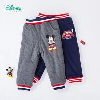 【秒杀价:39.9】迪士尼Disney童装 男童潮酷撞色棉裤冬季新品儿童外出夹棉长裤保暖舒适 194K854