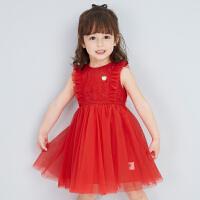 【3件1.5折价:67】笛莎女小童网纱连衣裙洋气儿童蕾丝裙2021夏季新款童装宝宝公主裙