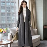 秋冬装新款韩版时尚大气过膝毛呢大衣女超长款加厚呢子外套潮 灰色