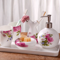 创意漱口杯牙刷杯子 五件套洗漱套装婚庆浴室用品套件欧式牙具