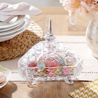 奇居良品 现代简约家居饰品摆件 水晶玻璃三角珠宝盒果盅