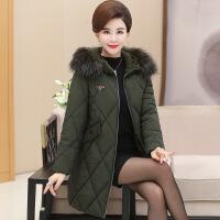网中老年女装羽绒服中长款洋气外套40岁人50冬季加厚羽绒棉袄