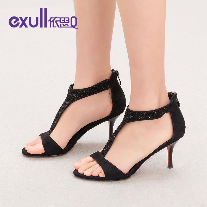 依思q新款高跟细跟铆钉水钻舒适性感纯色女凉鞋