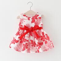 童装女童夏装背心裙2018新款儿童无袖裙子一岁婴儿女宝宝连衣裙夏 糖果红 枫叶裙