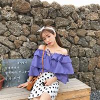 夏装女装韩版气质一字领露肩双层荷叶边系带雪纺衫短袖蕾丝衫上衣 均码
