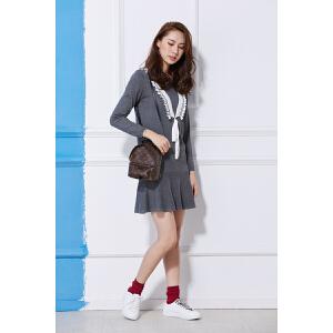 2018春夏季新款韩版显瘦V领长袖灰色收腰修身a字针织连衣裙子女