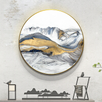 新中式装饰画圆形客厅装饰挂画玄关招财壁画中国风大气抽象山水画 直径70cm 30mm厚板 独立