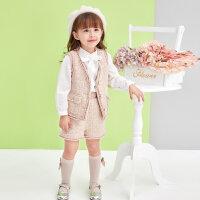 【2件2折价:92】笛莎童装女童套装2020春季新款大中小儿童长袖小香风三件套套装