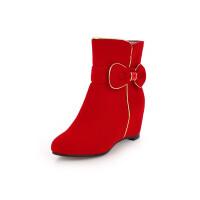 女童靴子冬秋韩版2018童鞋蝴蝶结公主短靴内增高小女孩单靴马丁靴