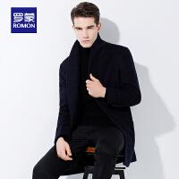 Romon/罗蒙羊毛大衣男中长款秋冬中老年翻领毛呢大衣保暖毛呢外套