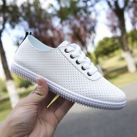 小白鞋女夏季2018新款韩版板鞋镂空透气女学生运动休闲鞋单鞋 -2镂空透气款黑白色 标准码