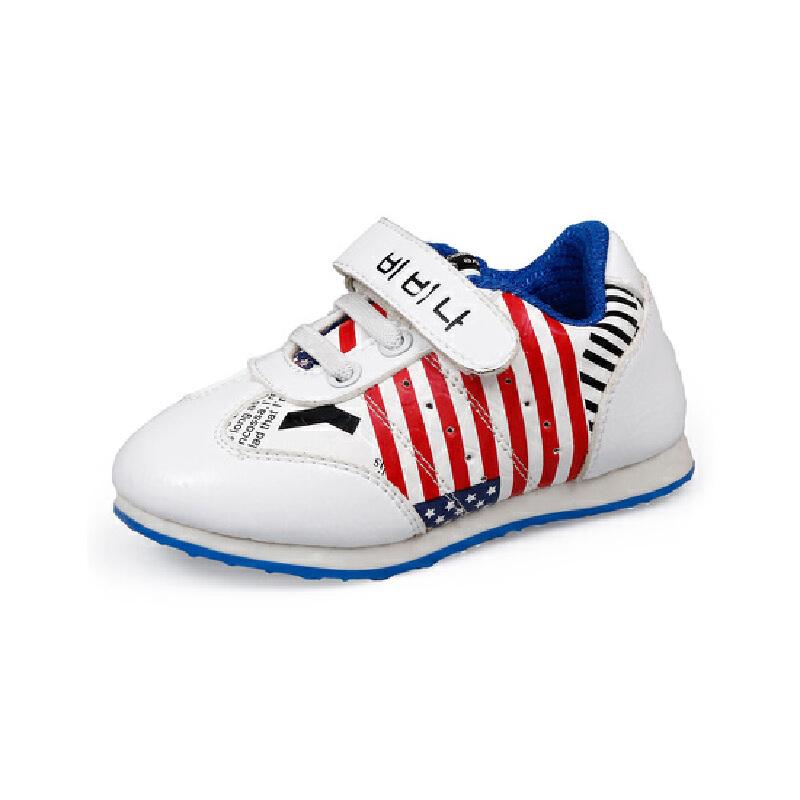 比比我女童运动鞋2017新款潮真皮儿童休闲鞋男童宝宝跑步鞋【每满100减50】
