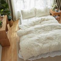 羊羔绒四件套加厚珊瑚绒保暖春秋季加绒被套纯色水晶绒床裙床上用品