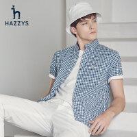 Hazzys哈吉斯夏季新款男士短袖�r衫休�e�r尚男式格子�r衣潮流男�b