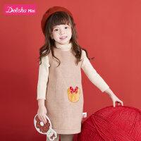 【3件1.5折价:39】笛莎童装女童连衣裙冬季新款儿童洋气俏皮女宝宝毛呢背心裙