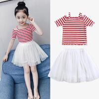 女童夏装套装洋气春装新款韩版儿童短袖两件套裙子小女孩童装