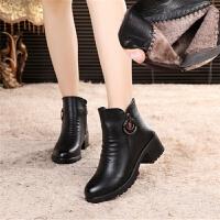 冬季加绒加厚短靴保暖棉靴妈妈棉皮鞋女中年人特大号码棉靴雪地靴