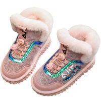 №【2019新款】冬天小朋友穿的儿童靴子女童2018新款牛皮亮片棉短靴兔毛雪地靴