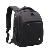 单反相机包双肩摄影包男女便携大容量多功能防水防盗 大号(黑色)+电脑包 五件套+防雨罩