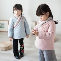 汉服童装冬装棉袄女童棉衣外套加厚保暖中长款刺绣梅花夹棉中国风