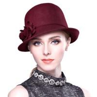 冬天女厚暖毛礼帽  帽子青年英伦毛呢休闲圆顶盆帽